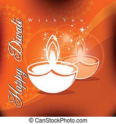 Beautiful vector diwali diya in shiny glowing color background with stylish text.