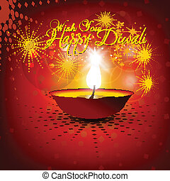 Beautiful vector diwali diya in shiny glowing red color background with stylish text.