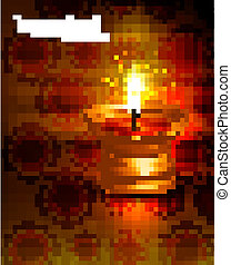 Beautiful vector diwali diya lamp reflection colorful red background