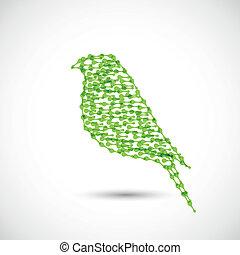 Beautiful vector flat silhouette of the bird