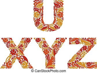 Beautiful vector  floral font, decorative letters with vintage pattern. U, X, Y, Z.
