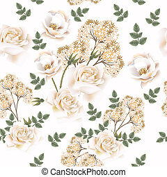 Beautiful vector flower pattern with roses.eps
