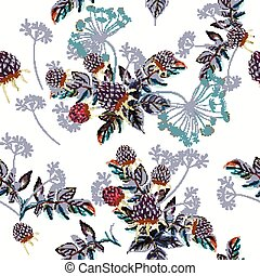 Beautiful vector flower pattern with watercolor berries.eps