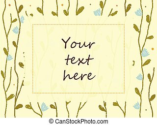 Beautiful vector frame with butterflies and flowers. Rectangular vintage border with place for your text. Hand drawn elements for invitations, greeting cards, certificates, vouchers