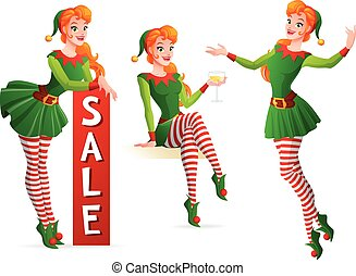 Beautiful vector girl in Christmas elf costume in different...