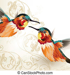 Vector illustration with couple of realistic humming birds for design