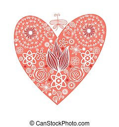 red heart with ornament