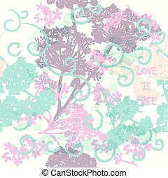 Beautiful vector pattern in sofy colors with florals