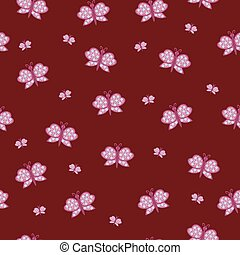 beautiful vector pattern with butterfly pink ornaments