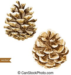 pine cone - Beautiful vector pattern with watercolor pine...