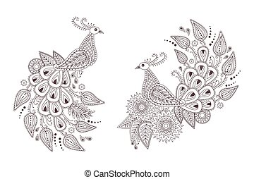 Beautiful vector peacock birds in indian paisley style