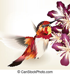 Beautiful vector realistic humming