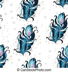 Beautiful vector seamless pattern with peacock feathers