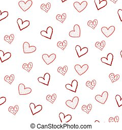 beautiful vector seamless pattern with pink and red hearts