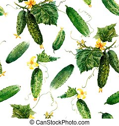 Beautiful vector seamless vegetable pattern with hand drawn watercolor cucumbers. Stock illustration.