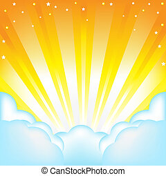 Clouds And Sun - Beautiful Vector Sky With Clouds And Sun,...