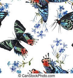 Beautiful vector watercolor colorful butterflies with gentle blue field flowers seamless pattern. Hand drawn artwork. Ready wallpaper or print. White background.