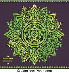 Beautiful vector watercolor floral Indian  ornament