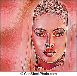 Beautiful veiled woman