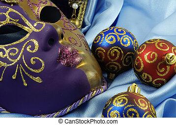 Beautiful Venetian mask on red velvet