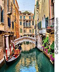 Beautiful Venice - Scenic canal with gondola, Venice, Italy
