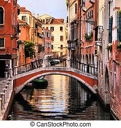 Beautiful Venice - Scenic canal with bridge, Venice, Italy
