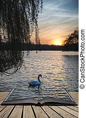 Beautiful vibrant Spring sunrise over calm lake in English ...