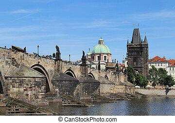 Beautiful view Charles bridge, Prague, Czech Republic