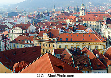 Beautiful view from above of historical center of Prague (Stare Mesto) on sunny day, Czech Republic