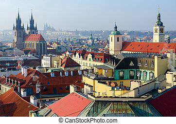 Beautiful view from above of historical center of Prague (Stare Mesto) on sunny January day, Czech Republic