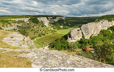 Beautiful view from above to Cave City Eski-Kermen in Crimea