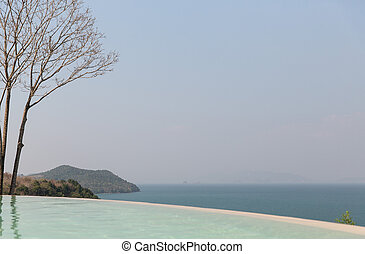beautiful view from infinity edge pool to sea