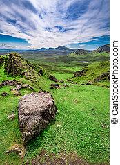 Beautiful view from Quiraing in Isle of Skye, Scotland, UK