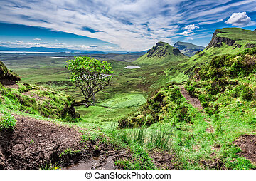 Beautiful view from Quiraing in Isle of Skye, Scotland, United Kingdom