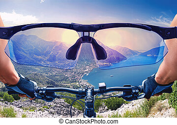 Beautiful view of the mountain landscape from the bycicle
