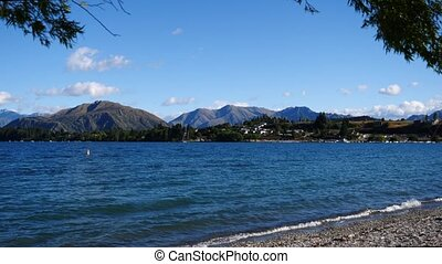 Lake Wanaka, New Zealand - Beautiful view from the shore of...