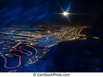 night Dubai - Beautiful view from the the plane on night ...