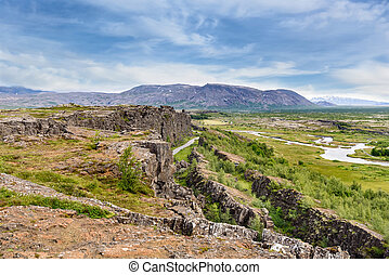 Beautiful view in Thingvellir National Park, Southern Iceland