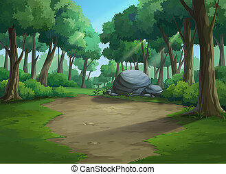 Beautiful view jungle plenteous - Illustration of an outdoor...