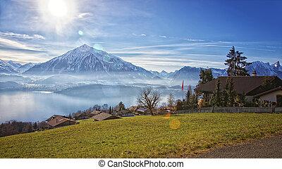 Beautiful view near Thun lake in Swiss Alps