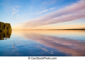 beautiful view of a blank lake with reflection of clouds