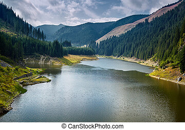 Beautiful view of a mountain lake