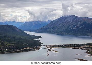 Yukon, Canada - Beautiful View of a small Touristic Town, ...