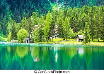 view of an alpine lake