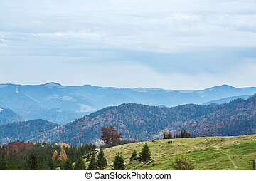 beautiful view of an autumn mountain landscape with a cloudy sky