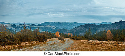 beautiful view of an autumn mountain landscape with a roug mountain road