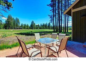 Beautiful view of backyard deck