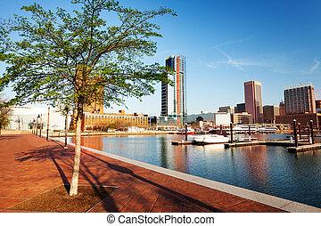 Beautiful view of Baltimore Inner Harbor skyline