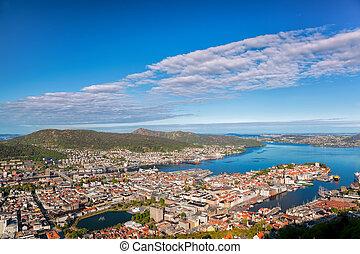 Beautiful view of Bergen from Floyen in Norway