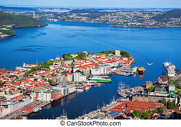 Beautiful view of Bergen from Floyen in Norway